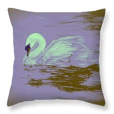 Swan Throw Pillow featuring the painting Swan Dream by Faye Anastasopoulou