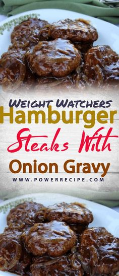 An easy-to-make classic featuring tasty hamburger 'steaks' smothered in gravy and onions. It's a great way to dress up a pound of ground beef. Skinny Recipes, Ww Recipes, Cooking Recipes, Recipies, Chicken Recipes, Weight Watchers Diet, Weight Watcher Dinners, Healthy Cooking, Healthy Dinner Recipes