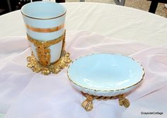Gold Plated Stylebuilt Vintage Vanity Bathroom Set Ceramic Soap Dish with Cup & Stand Hollywood Regency Bath Vanities by GraysideCottage on Etsy