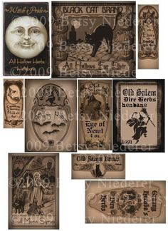 Vintage Halloween Witch Potion Bottle Labels Digital Download
