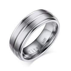 Titanium Ring for Mens Wedding Band Engagement Promise,Middle 2 Lines Matte Finished,Silver,Size 12
