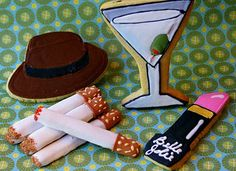 Pink Martinis and Pearls - Mad Men decorated sugar cookies