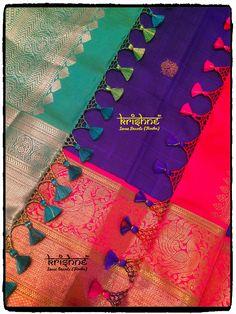 Bridal Saree Tassel Saree Tassels Designs, Saree Kuchu Designs, Blouse Designs, Silk Saree Kanchipuram, Indian Gowns Dresses, Simple Sarees, Saree Dress, Macrame Jewelry, Baby Design