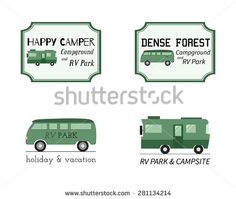 Outdoor Activity Travel Logo Vintage Labels design template. RV, forest holiday park, caravan. Camping Badges Retro style logotype concept icons set. Vector illustration