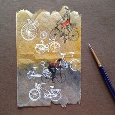 ruby silvious art — Day Enjoy the ride! Coffee Filter Art, Coffee Art, Tea Bag Art, Tea Art, Collage Art, Collages, Illustrations, Illustration Art, Used Tea Bags