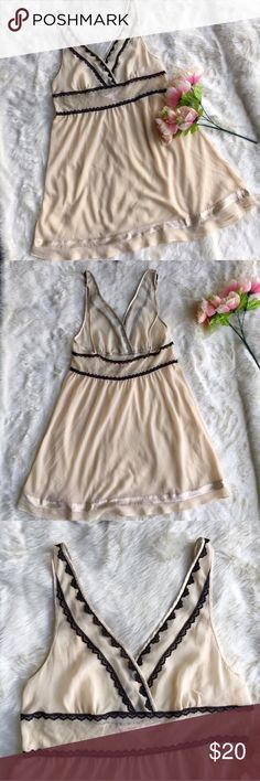 VS Angels Slip Cream slip by Victoria secret. Has adjustable straps and black line detail. Swiss dots under the bust. Victoria's Secret Intimates & Sleepwear Chemises & Slips