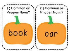 Pumpkin common and proper noun game. FREE - great for a center game for grammar!