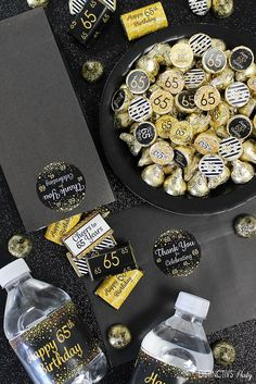 Black and gold birthday favors and decoration to complement your celebration, including thank you stickers, candy bar wrappers and more. 65th Birthday Party Ideas, Birthday For Him, Birthday Party Favors, Birthday Decorations, Birthday Parties, Candy Bar Wrappers, Thank You Stickers, Celebration, Retirement
