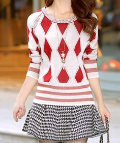 Casual Scoop Neck Long Sleeve Argyle Pattern Women's