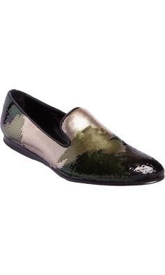 Prada Camo Sequin Wholecut Loafer in Green for Men Mode Masculine, Mens Shoes Boots, Male Shoes, Mens Slippers, Prada Shoes, Mens Fashion Shoes, Dream Shoes, Loafers Men, Designer Shoes