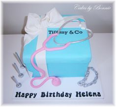Tiffany & Co cake with pink stethoscope , was made for a doctor, **Cakes by Bonnie**