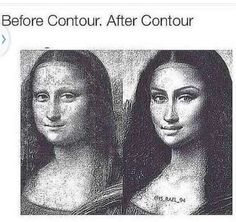 Mona Lisa picture - before contour and after contour!