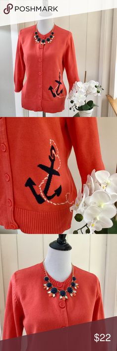 LL BEAN Orange & Navy Nautical Anchor Cardigan Nautical 100% cotton cardigan in a light coral orange color accented with a cute navy anchor and white rope. This sweater has 3/4 length sleeves and deep ribbing on the cuffs and hemline. In excellent very lightly pre-loved condition, with no holes, no rips, no defects. Please note that on the back, there are two small faint dark spots which are pictured in photo #6. They are not very noticeable and may come out with spot remover. L.L. Bean…