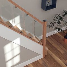 Glass Staircase Balustrade Kit - Glass&Oak Stair Parts with Chrome Fittings Oak Stairs, Glass Stairs, Basement Stairs, House Stairs, Floating Stairs, Balustrades, Glass Balustrade, Home Design Store, Oak Handrail