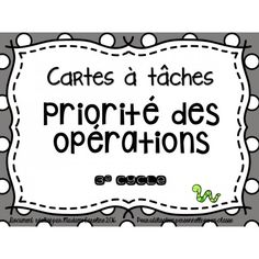 cartes à tâches priorité des opérations Montessori Math, Math Numbers, Cycle 3, Math Games, Teaching, Fractions, Education, School, College