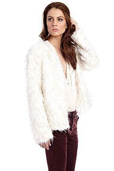 Q2 Women's Cream long hair faux fur coat