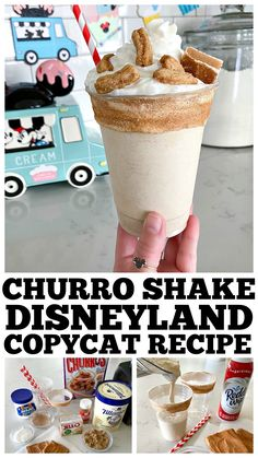 Churro Shake Disneyland Copycat Recipe Churro Shake recipe just like the one from Schmoozies! Disney Inspired Food, Disney Food, Disney Recipes, Disney Snacks, Protein Shake Recipes, Milkshake Recipes, Milkshakes, Best Disneyland Food, Magic Bullet Recipes