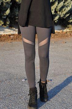 Κολάν dry fit με διαφάνεια γκρι Knee Boots, Fitness, Shoes, Fashion, Moda, Zapatos, Shoes Outlet, La Mode, Knee Boot