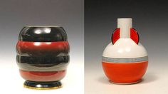 Vases by Nora Gulbrandsen for Porsgrund Porselen. Vase to the left: Production year 1933 -1935. Model 2075 Decor 6134. The vase to the right is from 1931
