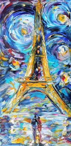Paris Starry Night Eiffel Tower oil canvas Landscape palette knife painting ABSTRACT modern texture fine art impressionism by Karen Tarlton. $145.00, via Etsy.