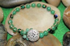 Celtic Bracelet Celtic Knot Green Aventurine by OHineKnotwork, $25.00