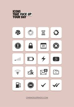 """""""Icons that fuck up your day"""" in Inspiratie"""