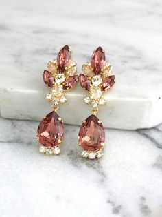 Bridal Blush Earrings, Blush Chandelier Earrings, Swarovski Blush Earrings, Blush Long Earrings, Bridal Earrings, Dark Pink Dangle Earrings Bridal Earrings, Bridal Jewelry, Jewelry Gifts, Jewelery, Dangle Earrings, Fashion Earrings, Fashion Jewelry, Fashion Accessories, Stylish Jewelry