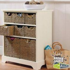 Wicker Basket Storage Unit 8 Chest Of Drawers Cream Wooden Bathroom Cabinet