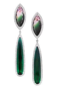 Watermelon Tourmaline, Gold And Diamond Drop Earrings by Dana Rebecca for Preorder on Moda Operandi
