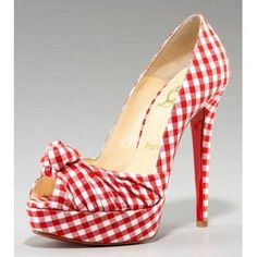 Christian Louboutin Gressimo Gingham Knot Pump $199,distinguished shoes brand on-line shop, such as louboutins, Gianmarco Lorenzi, Alaia,Alexander McQueen.