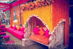 Mehndi Swing & more magical ideas for your mehndi decor. See these amazing bridal seat ideas and stunning mehndi jhoola glimpses from recent real weddings! Wedding Mandap, Wedding Venue Decorations, Stage Decorations, Desi Wedding, Wedding Stage, Flower Decorations, Wedding Themes, Wedding Events, Mehendi Decor Ideas
