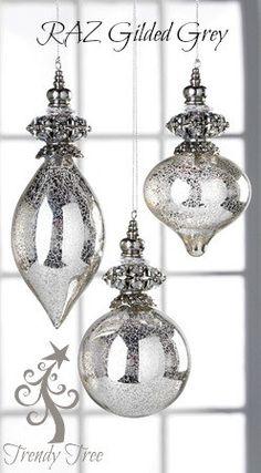 "RAZ 7.5"" Glass Antiqued Gem Ornament Set of 3"