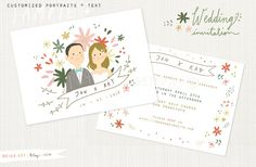 Printable Custom Portraits Wedding Invitation- Whimsical wedding card