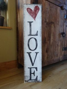 Love sign. 6x26 Hand painted wood sign/ by MyThoughtsExactly6