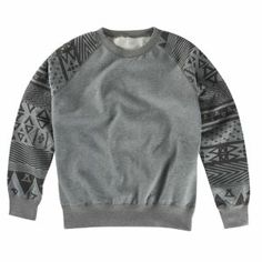 "Asphalt Yacht Club: Native Print Crew Sweatshirt / ""The Native Print Crew Sweatshirt by Asphalt Yacht Club is a party in the back. It features ribbed, cuffs, neck and waist for a secure fit."""