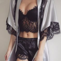 black, lace, and sexy - if I wore this to bed it wouldn't be on for very long!