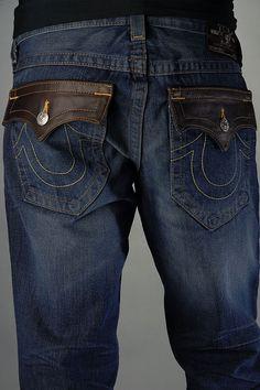 True Religion Men Jeans Billy Leather Pockets
