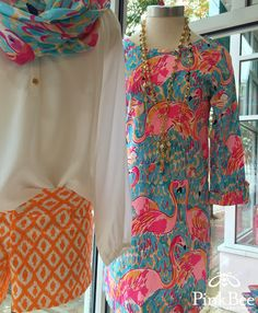 Rejoice Flamingo Lovers! Lilly Pulitzer has brought Peel and Eat BACK! Linden Dress. Marlisa Maxi, Elsa Top, Michele Top, Essie Top, Buttercup Shorts and more at Pink Bee in Greenville, SC!