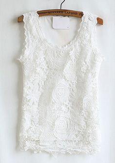White Slim Hollow Lace Vest