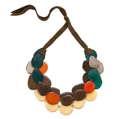 Galapagos Tagua Bib Statement Necklace - Curry