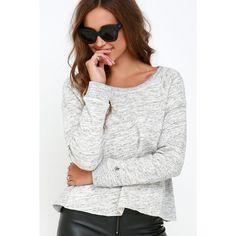 Obey Jackson Heather Grey Sweatshirt ($65) ❤ liked on Polyvore featuring tops, hoodies, sweatshirts, grey, long sleeve sweatshirt, gray top, grey sweatshirt, gray crewneck sweatshirt and obey clothing
