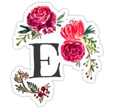 Floral Monogram Watercolor Letter E • Also buy this artwork on stickers, apparel, phone cases, and more.