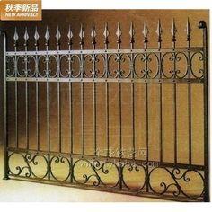 Hecho en fábrica de hierro forjado balcón barandilla valla windows ...
