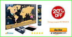 Visualize your past journeys and plan your future travels. Impress your friends and family with our brand new Scratch Off World Map Poster. Perfect gift to your beloved travel enthusiasts. Get 20% off coupon code 6U7B55C9
