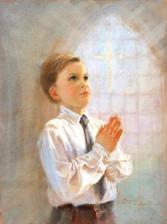 Communion boy by American child Artist, Kathy A. Vintage Holy Cards, Images Vintage, Artists For Kids, Art For Kids, Giving Thanks To God, Painting Of Girl, First Holy Communion, Human Art, Praise And Worship