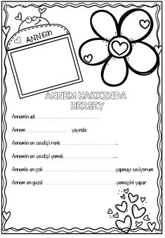 annem hakkında herşey Printable Adult Coloring Pages, Coloring Pages For Kids, Ramadan, Islam, Fathers Day Crafts, Mom Day, Mother And Child, Paper Decorations, Pre School
