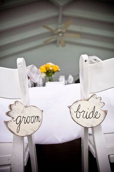This is so cute! A subtle, yet very sweet way to mark your chairs at your table || Easy DIY as well!