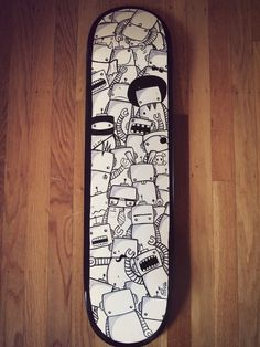 "Items similar to SALE: Original Acrylics on Skateboard Bots bots bots on Etsy - Original Acrylic On Skateboard. ""Bots Bots Bots"" by Pica - Skateboard Deck Art, Skateboard Design, Skateboard Girl, Art Patin, Longboard Design, Posca Art, Snowboard Girl, Skate Art, Cool Skateboards"