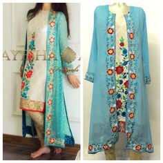 Items similar to Pakistani Clothes- Ayesha Ahmed Inspired Chiffon Embroidered Gown and Inner with Cigarette Pants 4 Pc Dress Indian/Pakistani on Etsy Black Pakistani Dress, Pakistani Dresses Party, Pakistani Dress Design, Pakistani Outfits, Party Wear Dresses, Gown Style Dress, Dress Indian Style, Jacket Dress, Stylish Dresses
