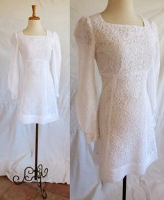 Vintage 1960s short white cotton lace dress with by DustyDesert, $32.00